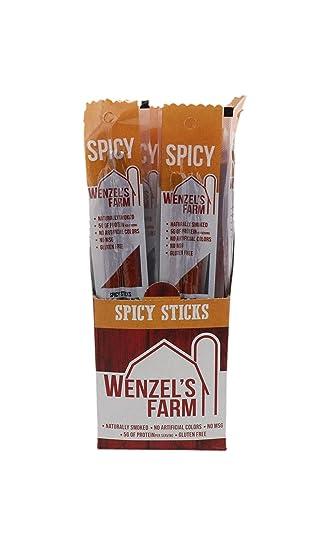 Wenzel's Farm Spicy Snack Sticks - Gluten Free - No MSG - (16 packages of 2  sticks)