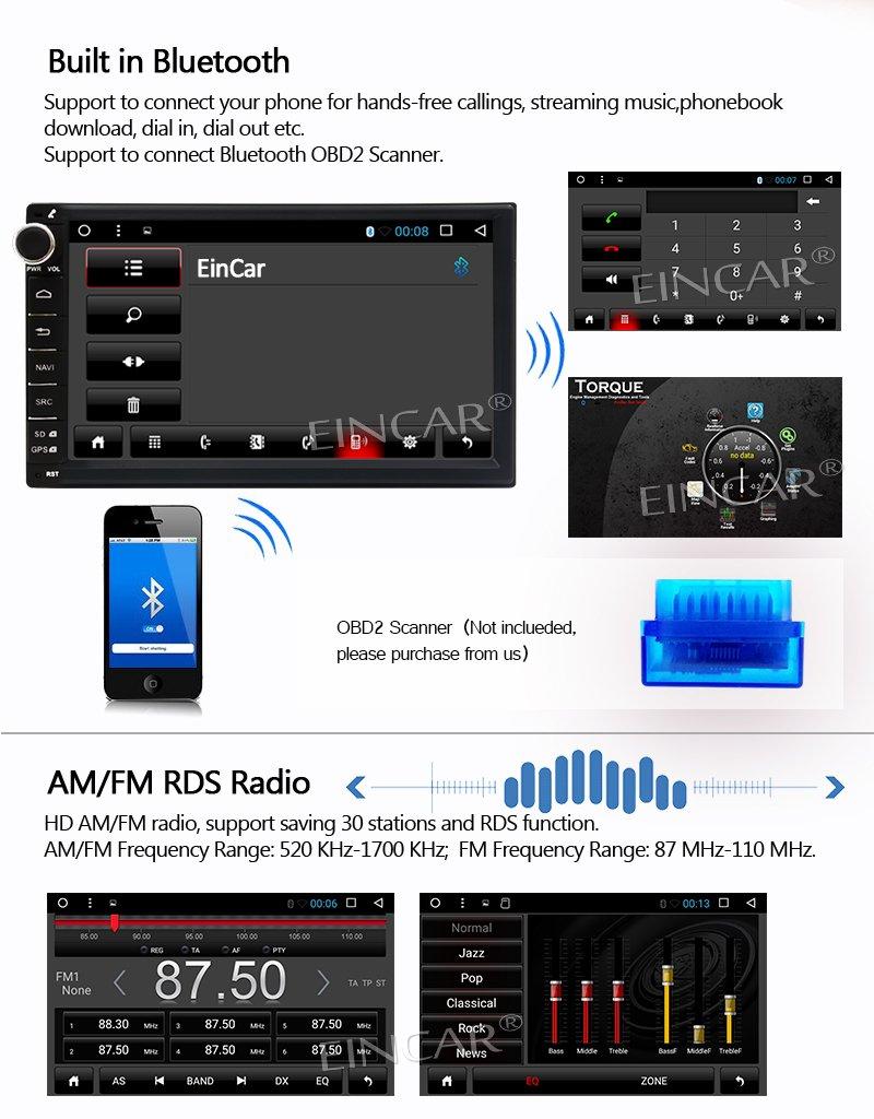 Ltd Eincar Double Din Android 6.0 Quad Core Car Stereo Head Unit 7 Touch Screen Car PC Support Bluetooth SWC Mirror Link OBD2 DAB+ FM//AM 1080P Video 3G//4G WIFI Wandou Trade Co Free Wireless Rear Camera Included yYH.AN60268GNN1+WYCAM