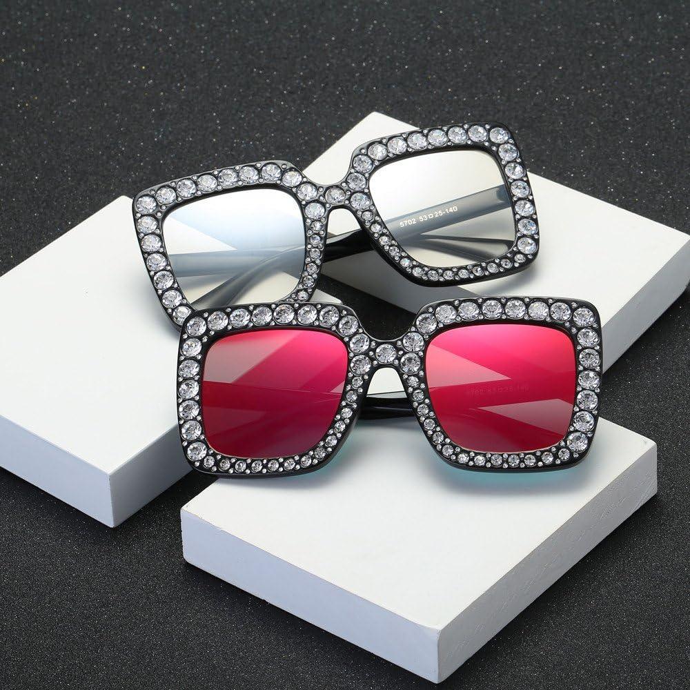 Sunenjoy Lunettes de Soleil Femme Carr/é Strass Mode Artificiel Diamant Oreille de chat Lunettes de Soleil M/étal Marque de cadre Classique Lunettes