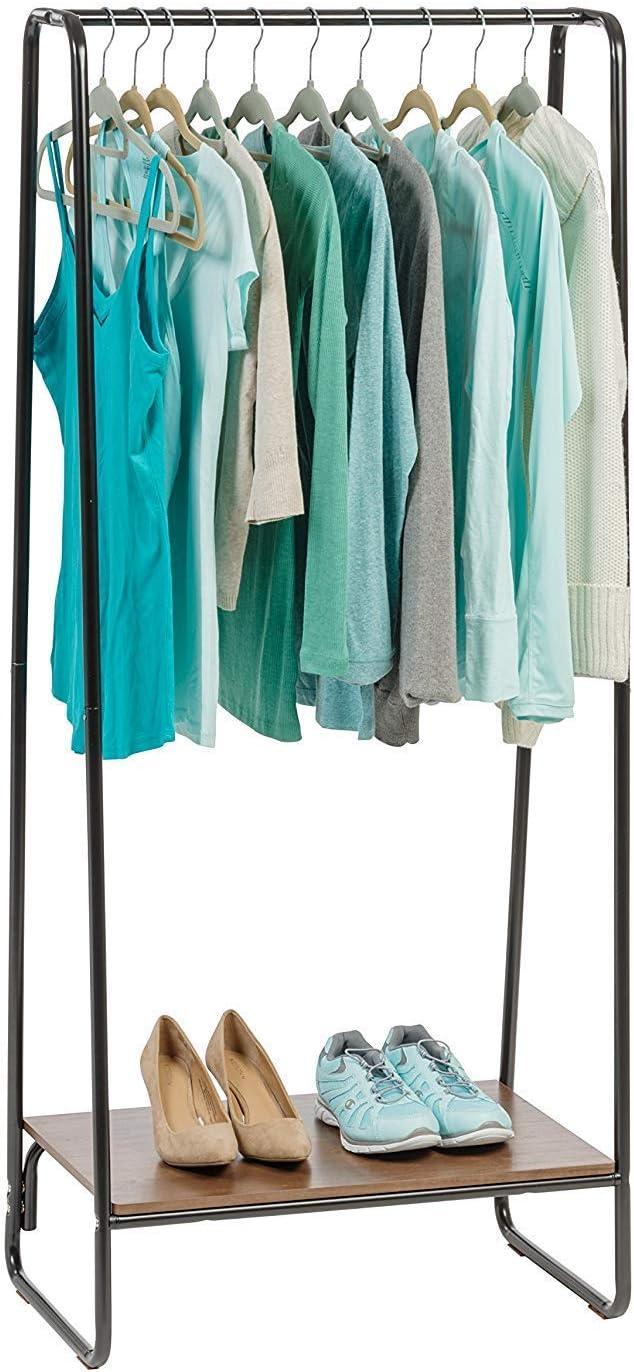 Iris Ohyama Garment Metal Rack PI-B1 Perchero/Espacio de almacenaje con Zapatero de metálico Madera PI-B1-Marrón, 64 x 40 x 150 cm, MDF, Marrón/Negro