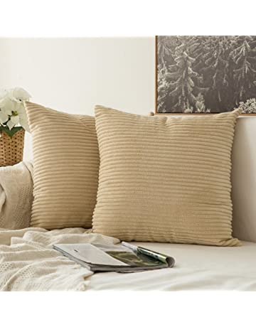 296453bebdec MIULEE Striped Corduroy Fabric Square Throw Pillow Case,Solid Cushion Cover  Sham Home for Sofa