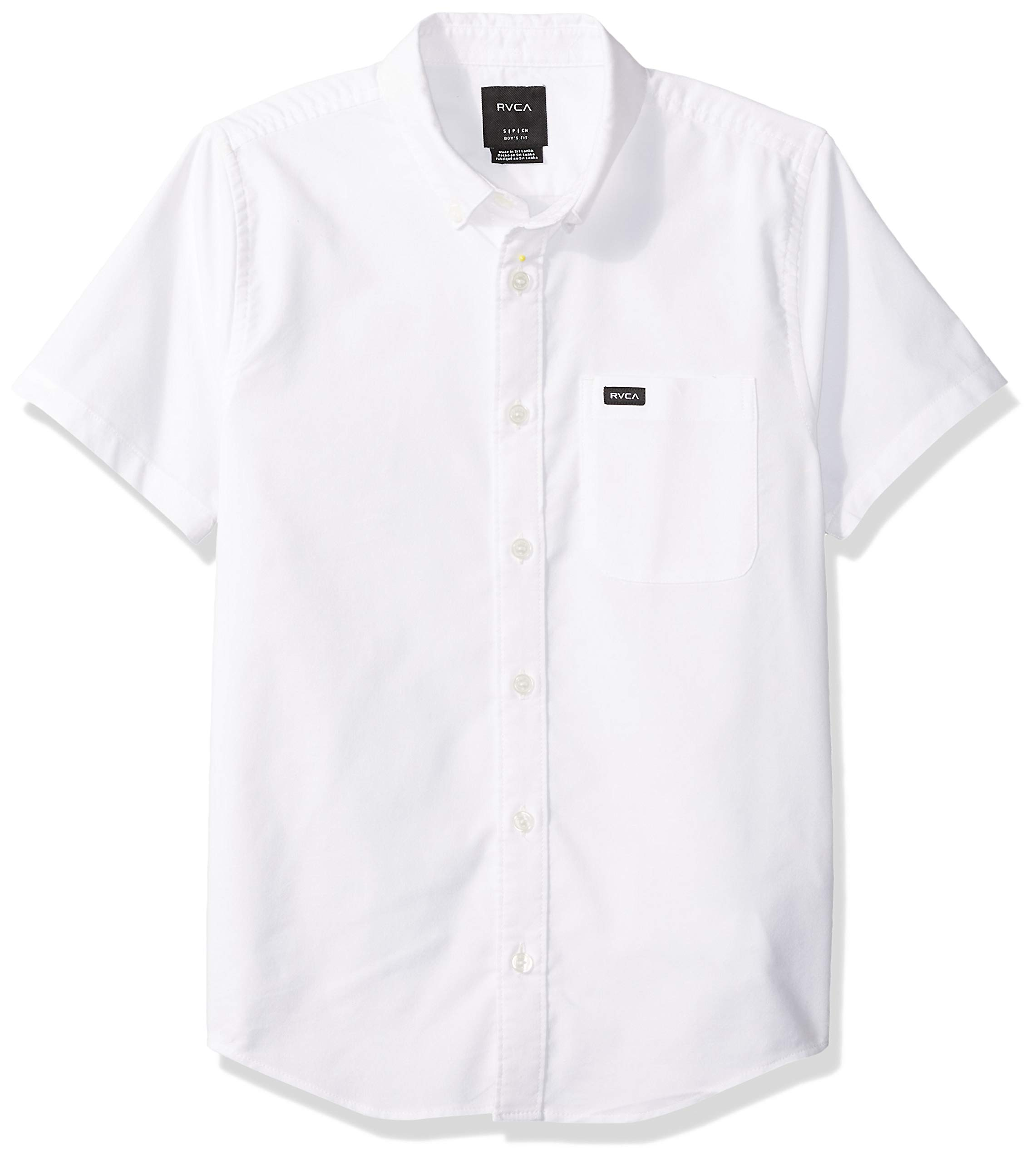 RVCA Boys Thatll DO Stretch Short Sleeve Woven Button UP Shirt, White M by RVCA (Image #1)