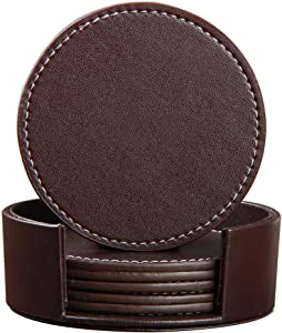 YAPISHI Coaster for Drinks with Holder, Set of 6 PU Leather Drink Coasters Coffee Tea Cup Pads Round Brown Table Mat for Home/Office/Kitchen/Bar, Protect Your Furniture from Scratch/Stains