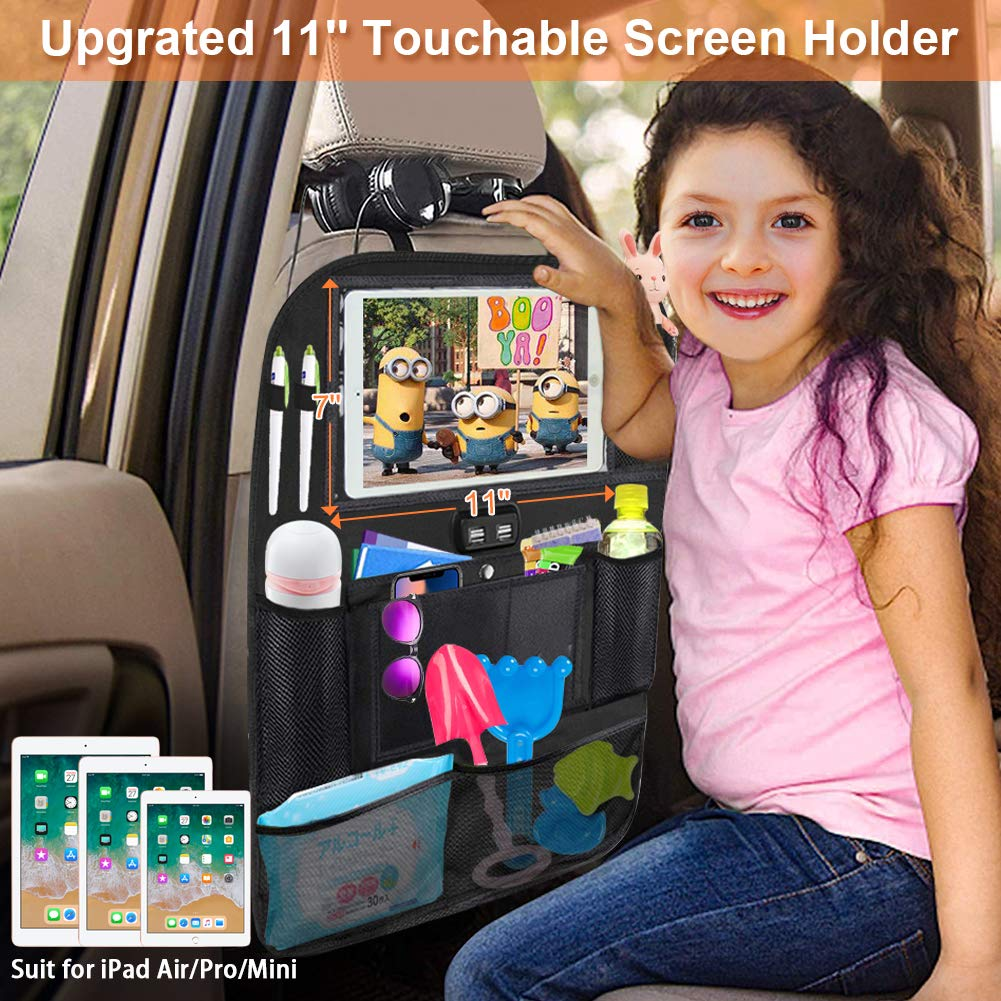 11/'/' Touch Screen Tablet Holder Seat Back Protectors Kick Mats for Toy Bottle Book Drink 2 Pack Universal Fit Travel Accessories for Kid /& Toddlers Backseat Car Organizer with 4 USB Charging Port