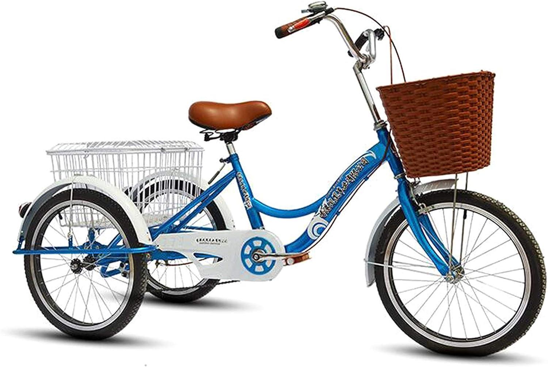 SN Triciclo para Adultos 20 Pulgadas Manpower Pedal Cruiser Trike con Asiento Ajustable Bicicleta 3 Ruedas con Cesta Compra Campana Luces para Hombres Mujeres (Color : Blue)