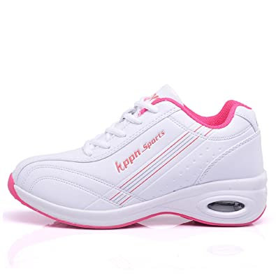 c3d01fddef3 tqgold Femme Baskets Basses Chaussure de Sport Outdoor Running Gym Fitness  Sneakers (Rose Blanc