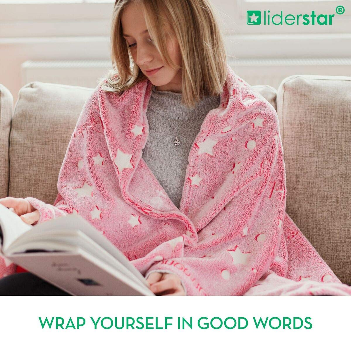 LIDERSTAR Glow in The Dark Throw Blanket 50\