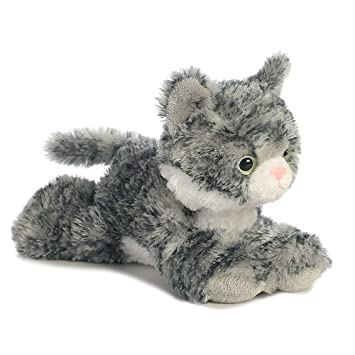 Aurora World Lily El Gato Mini Flopsies Peluche (Color Gris/Blanco/Rosa)
