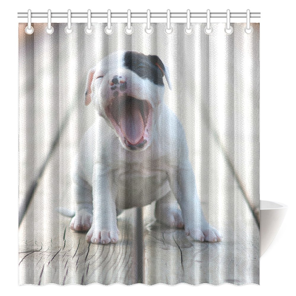 CTIGERS Animal Theme Shower Curtain for Kids Cute Pet Dog Open Its Mouse Polyester Fabric Bathroom Decoration 66 x 72 Inch