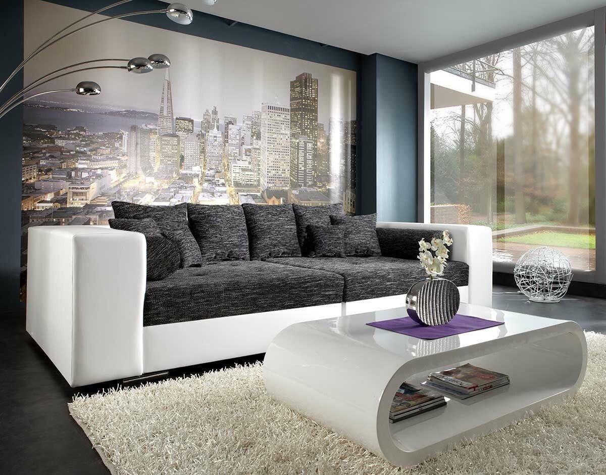 Wohnzimmer sofa schwarz  XXL-Sofa Marlen Schwarz Weiss 300x140 cm Bigsofa: Amazon.de: Küche ...