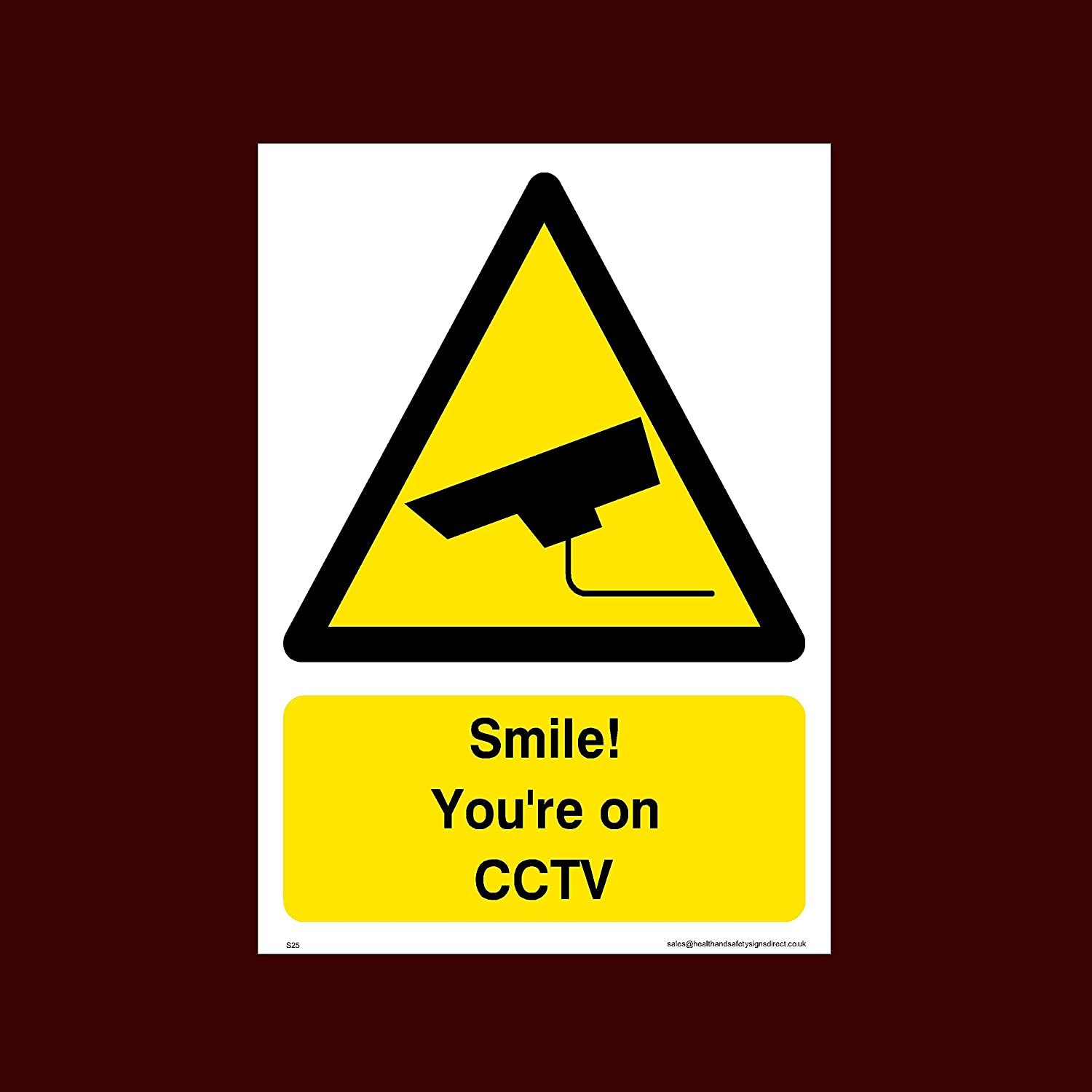 S25 Smile Security - CCTV Alarmed Camera Dogs Surveillance Warning Youre on CCTV Plastic Sign Premises