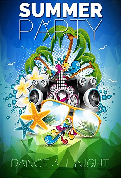 Csfoto 4x6ft Background For Summer Party Beach Rave Party Photography Backdrop Carnival Dance All Night Tropical Sea Ocean Music Holiday Vacation Tour