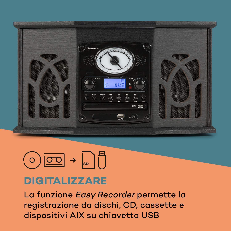 auna NR-620 - Equipo estéreo Dab, Tocadiscos de 33 y 45 RPM ...