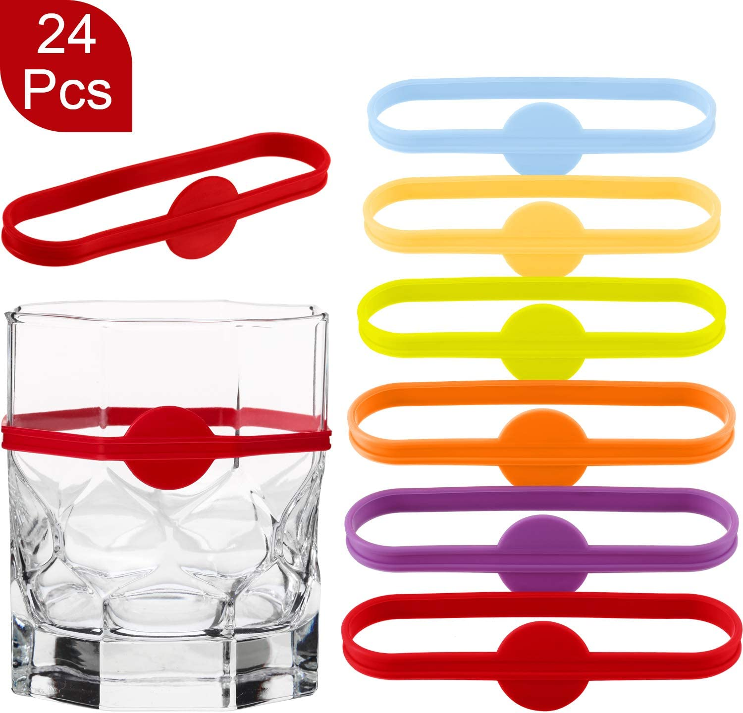 24 Pieces Drink Markers, Glass Cup Wine Glass Bottle Strip Tag Marker, Cocktail Glass Party Solution for Guests