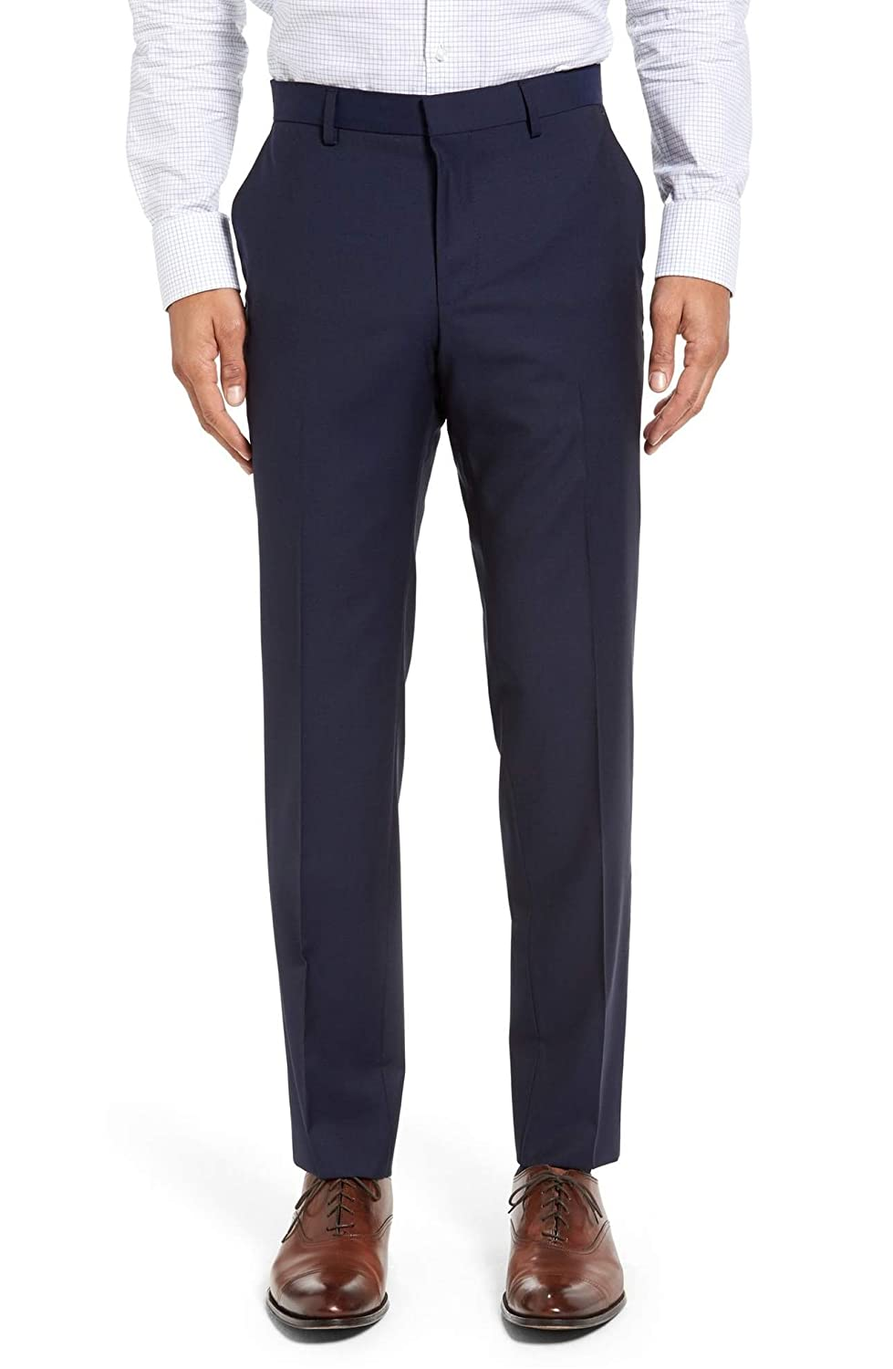 Hugo Boss Genius Virgin Wool Trousers Wool Flat Front Solid Dark Royal Blue Men's Dress Pants by Hugo Style C-GeniusS - 50296881