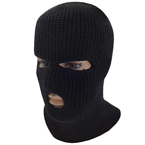 f2a2615cf6a Image Unavailable. Image not available for. Color  J T Balaclava Mask 3 Hole  Face Mask Ski Mask Winter Cap Balaclava Hood Army Tactical Mask