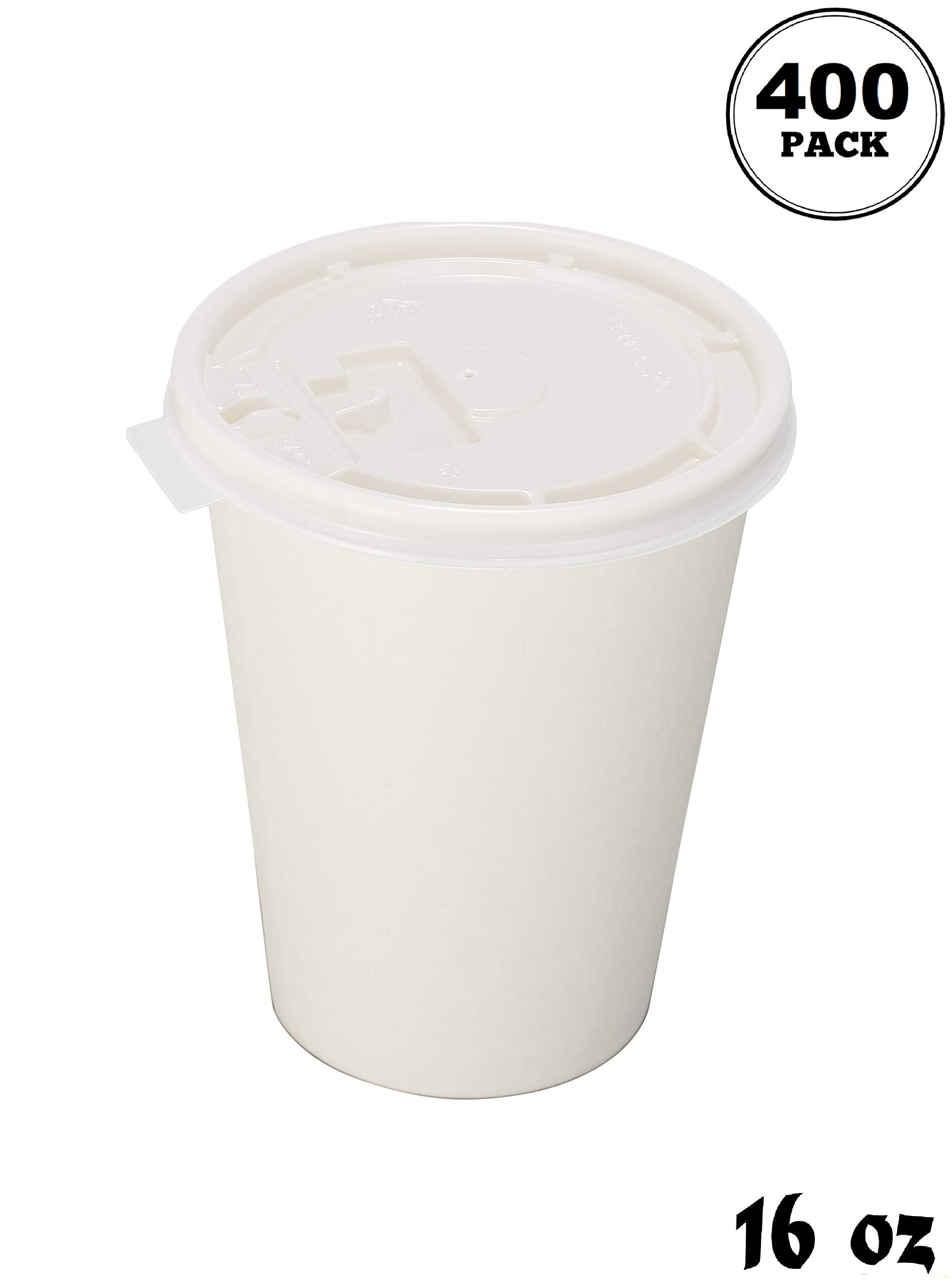 EcoQuality Durable Disposable Paper Cups & Flat Lids For Hot/Cold Drink, Coffee, Tea, Cocoa, Travel - Extra Large 16 Ounce Cups, 400 Count Cups & 400 White Flat Lids - White