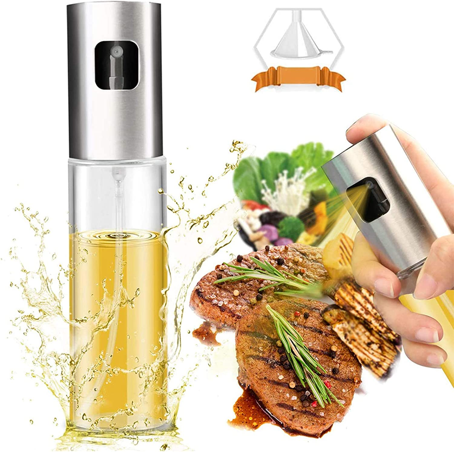 Olive Oil Sprayer Dispenser for Cooking, Food-Grade Glass Oil Spray Bottle Oil Dispenser,Olive Oil Sprayer for BBQ/Making Salad/Baking/Frying Kitchen