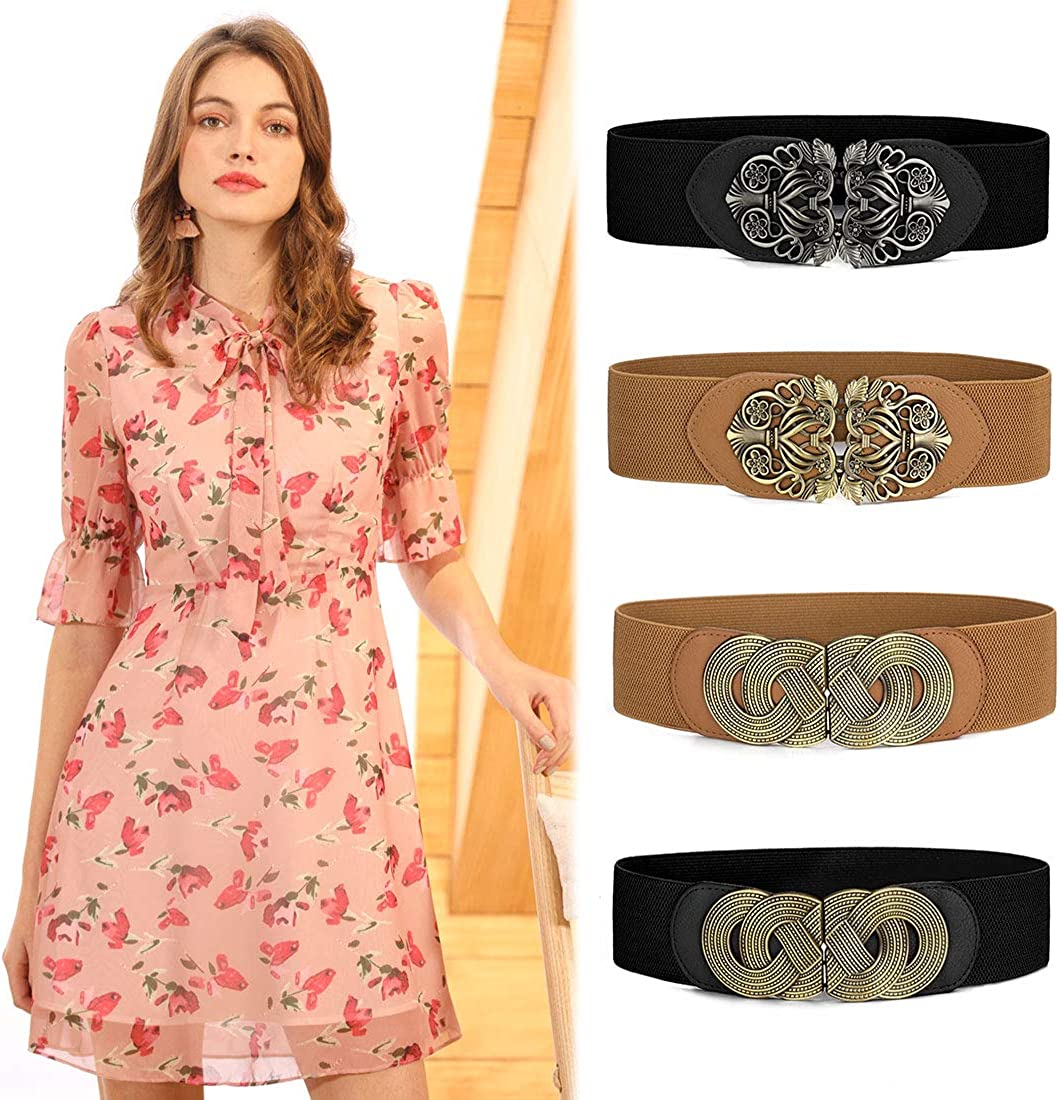 sourcingmap Knot Woven Metal Interlocking Buckle Elastic Waist Cinch Belt Band