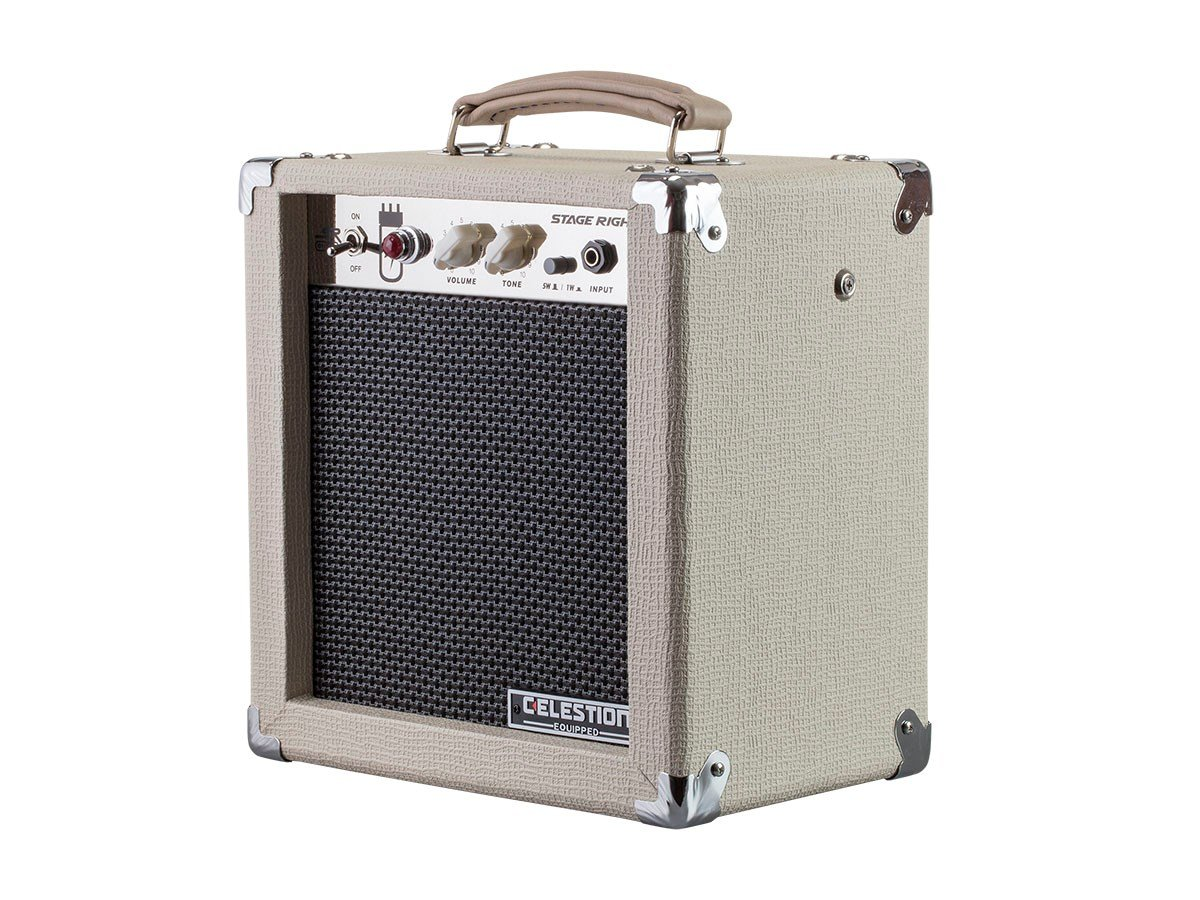 Monoprice 5-Watt 1x8 Guitar Combo Tube Amplifier - Tan/Beige with Celestion Super 8 Inch Speaker, 12AX7 Preamp 611705