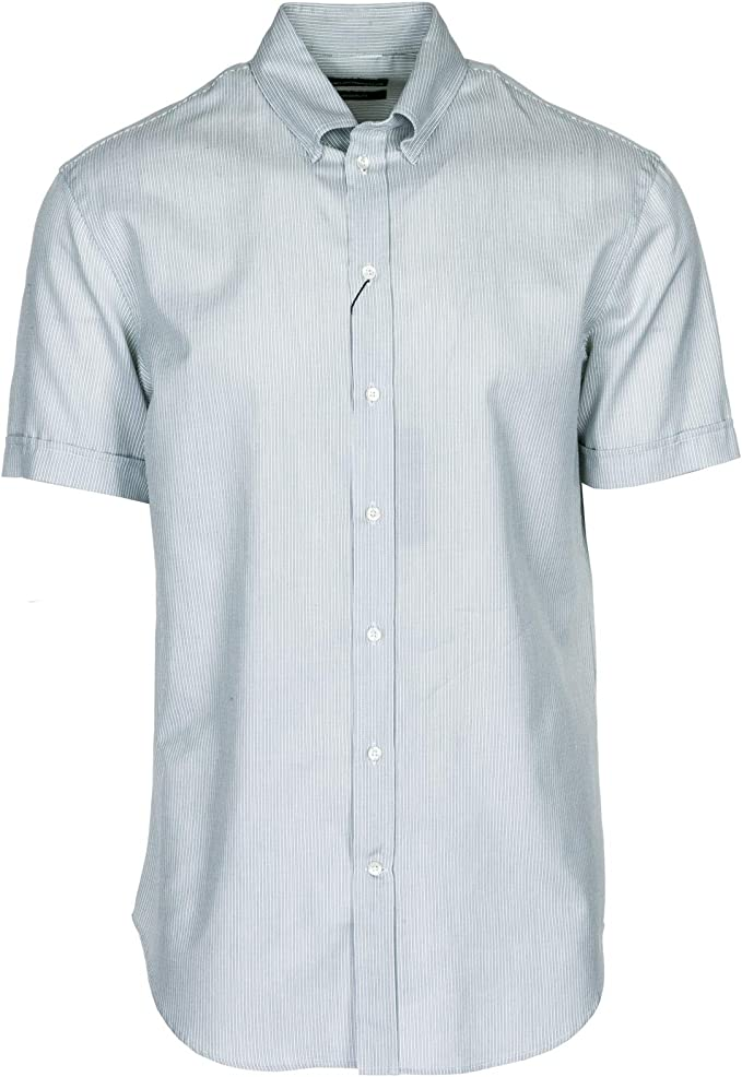 Emporio Armani Camisa de Mangas Cortas Hombre Grigio 40 cm: Amazon.es: Ropa y accesorios