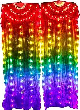 Silk Fan Veils Belly Dance 100/% Silk 1.8m USA Store Quick Ship  FREE Gift