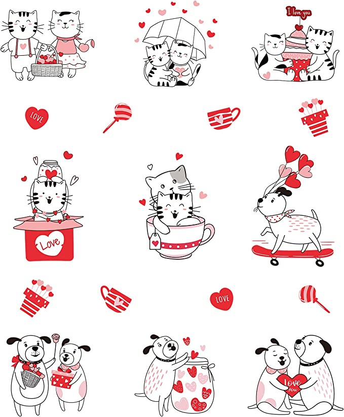 Cozy Love Sticker Sheets Set Valentine/'s Day Heart Rainbow Love Letters