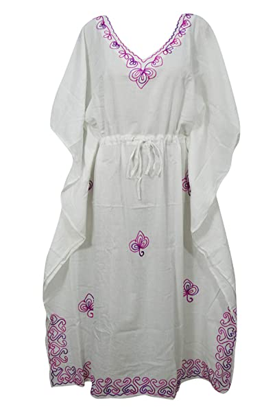 1c3b07184f Image Unavailable. Image not available for. Color  Mogul Interior Womens  Caftan Dress White Embroidered Drawstring Cover Up Kaftan L