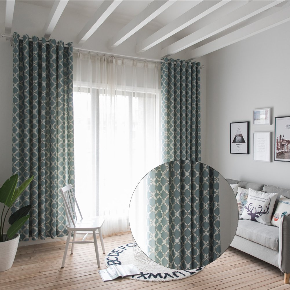 "iBaste Eyelet Blackout Cotton Lint Curtains Window Treatment Bedroom Print Contracted Curtain 40""*110''"