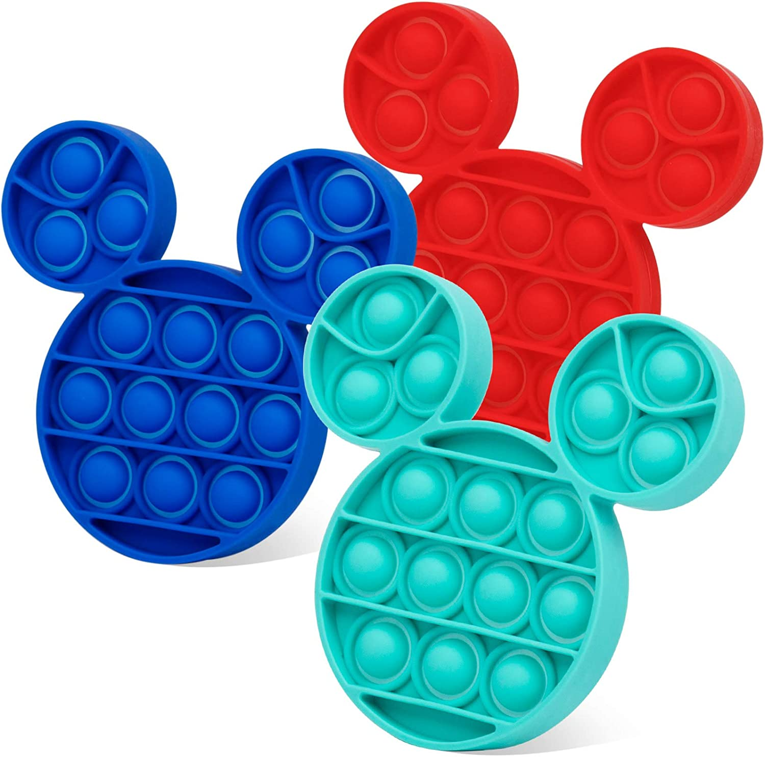 CONNOO 3PCS Push Bubble Popping Sensory Toys, Sensory Toys for Autistic Children, Push Pop Fidget Toy, Stress Relief Toy for Kids, Adults, Students and Friends (Mouse, Cyan + Red + Blue)