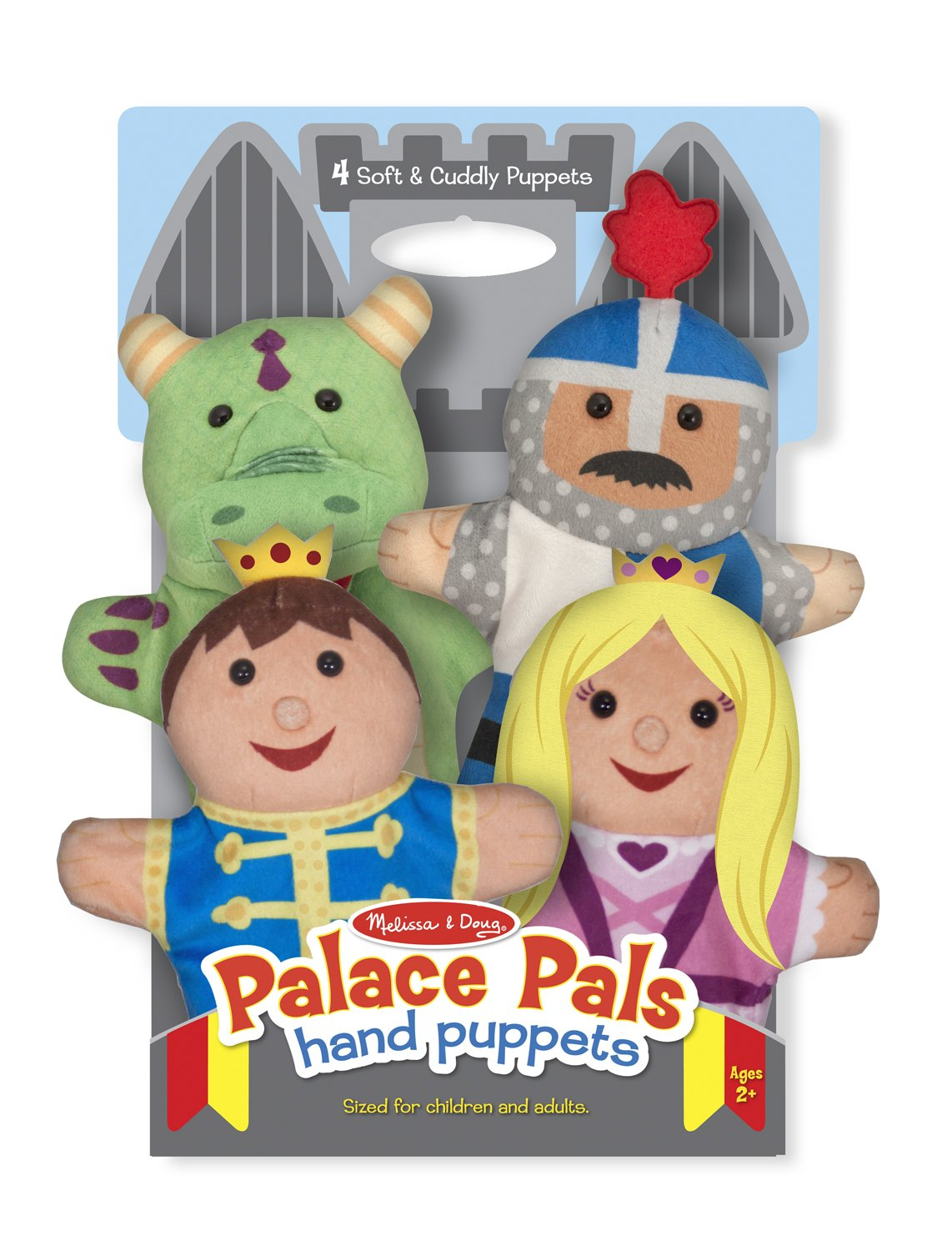 Melissa & Doug Palace Pals Hand Puppets (Set of 4) - Prince, Princess, Knight, and Dragon