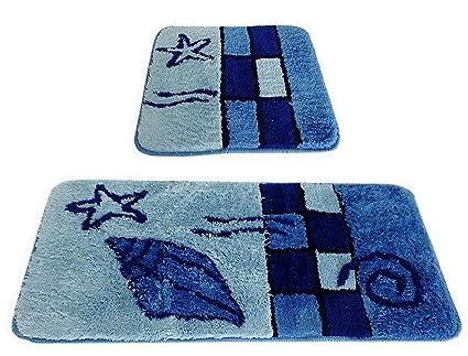 Fd workstuff set di 2 tappetini da bagno set hamburg blu i per bagno