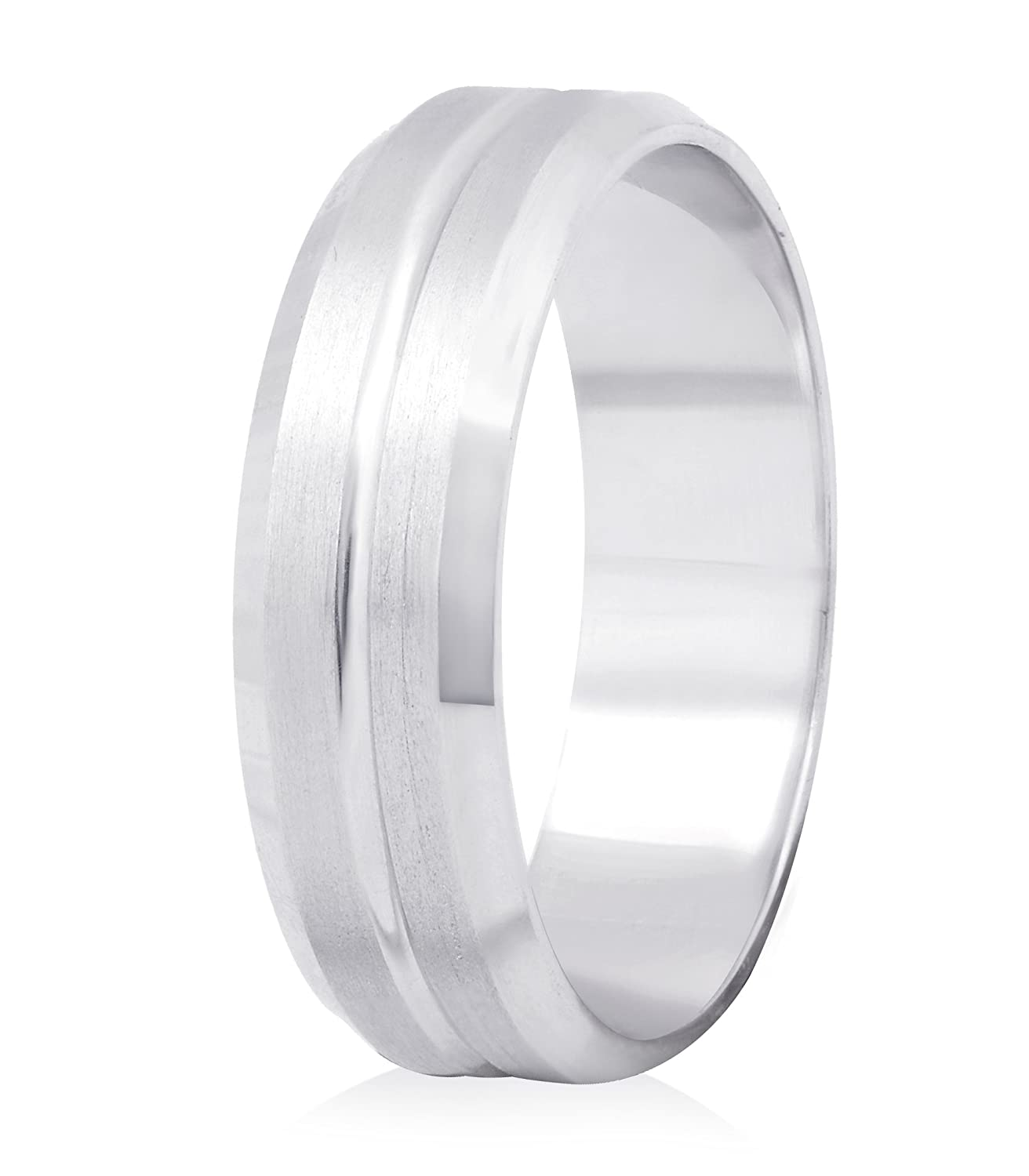 14K White Gold 6mm Satin-finished Grooved Wedding Band