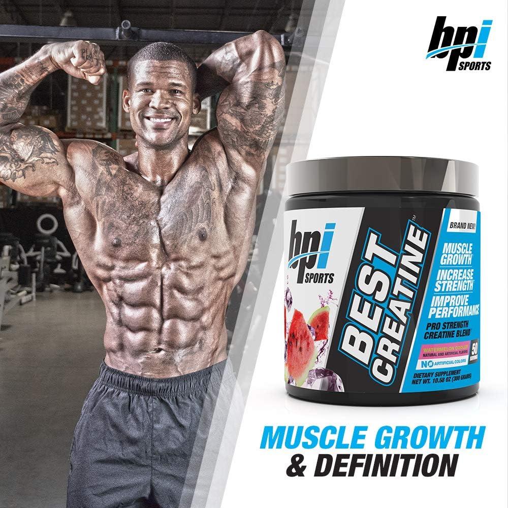 BPI Sports Best Creatine Creatine Monohydrate, Himalayan Salt Strength, Pump, Endurance, Muscle Growth, Muscle Definition No Bloat Watermelon