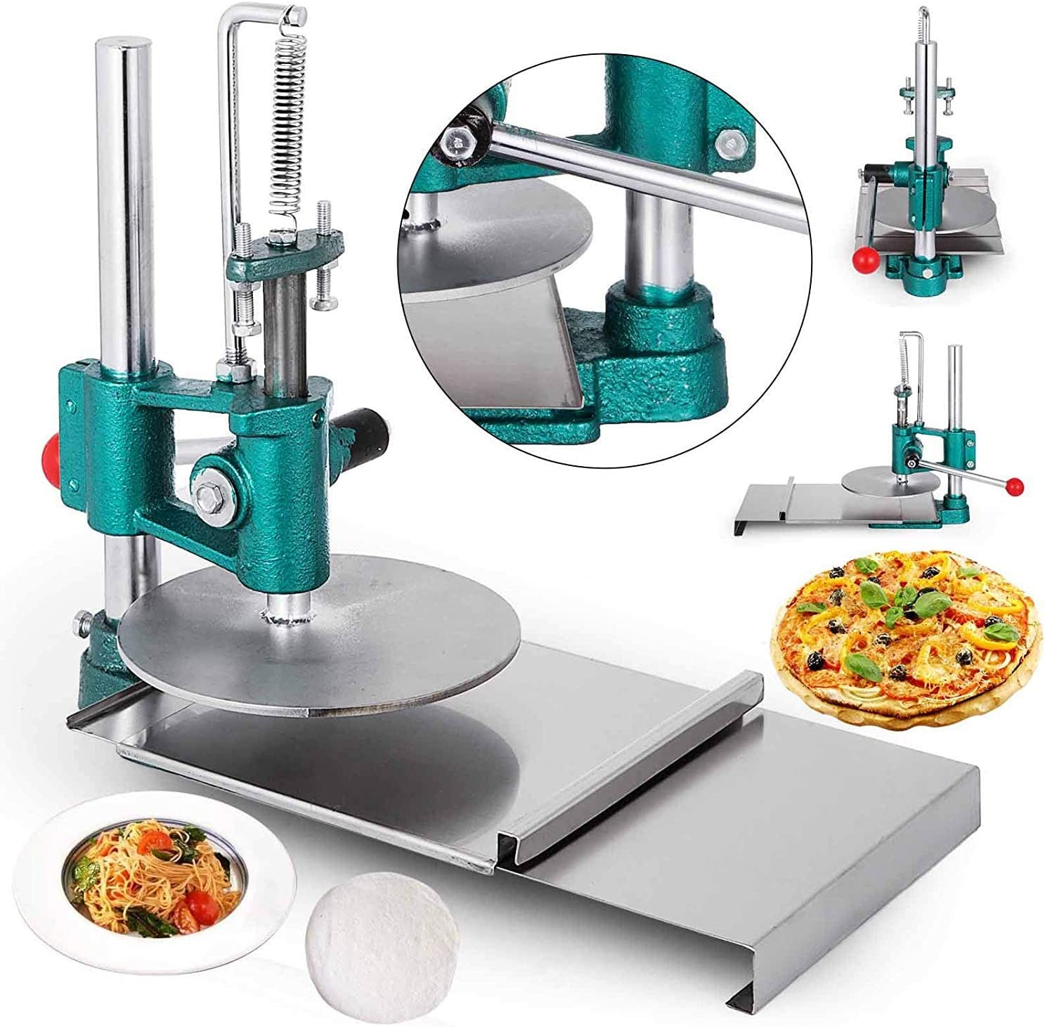 VEVOR Pizza Pastry Press Machine Stainless Steel Household Pizza Dough Pastry Manual Press Machine Metal Plate Diameter 7.87inches