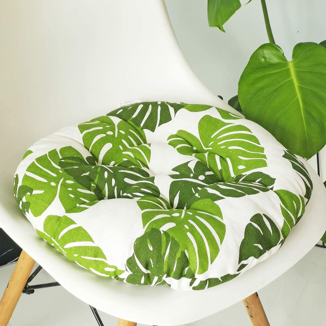 vctops Bohemian Soft Round Chair Pad Garden Patio Home Kitchen Office Seat Cushion Leaf Diameter 16