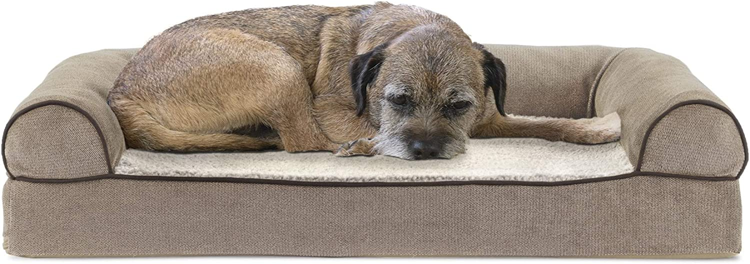 Furhaven - Ergonomic Contour & Plush Orthopedic L-Shaped Chaise Sofa Lounger Dog Bed - Available in Multiple Colors & Styles