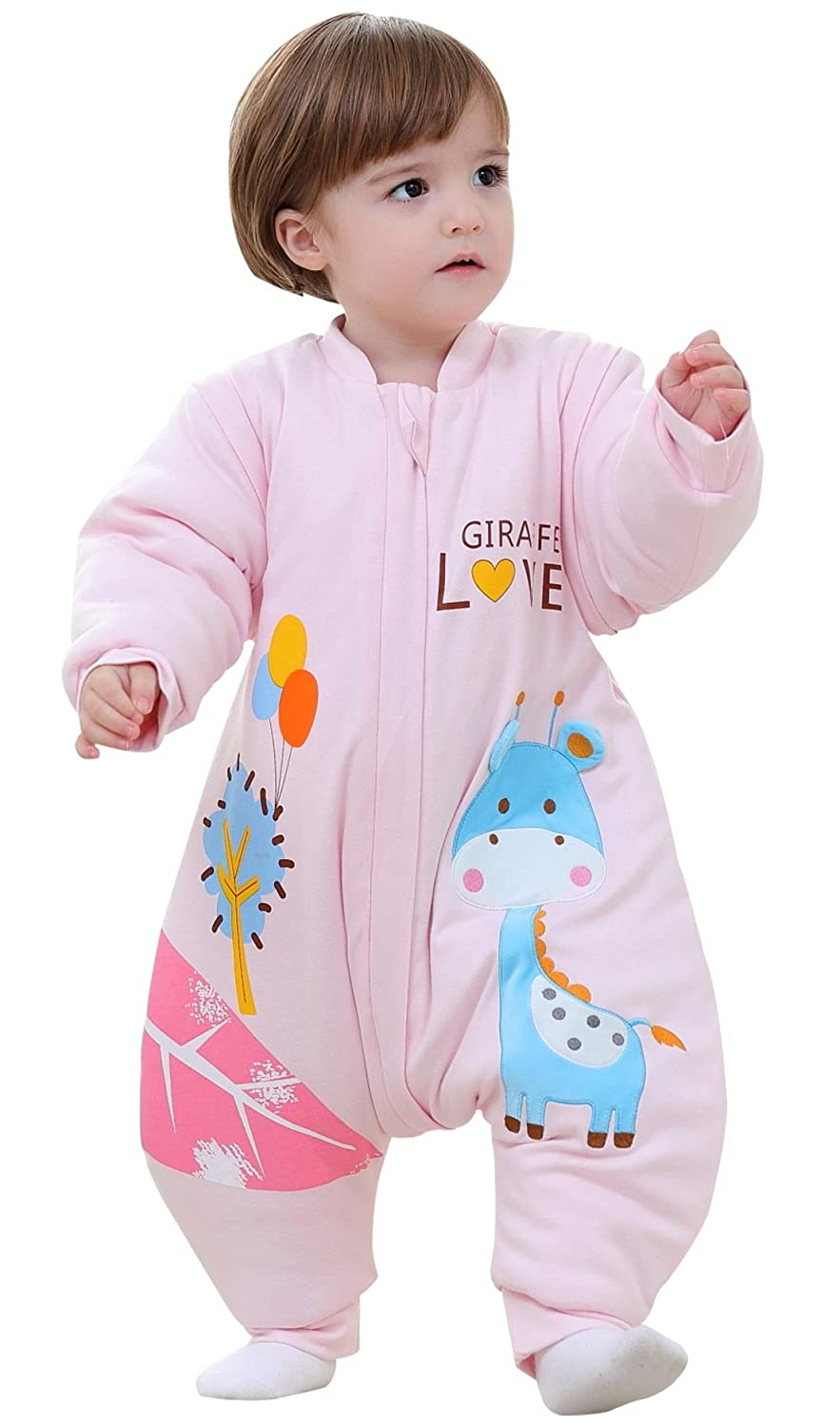 Baby Romper Infant 3.5 Tog 3D Deer Sleep Bag Thicken Wearable Cotton Blanket with Long Detachable Sleeves for Toddler 6-12 months Pink BEIFANCHEN