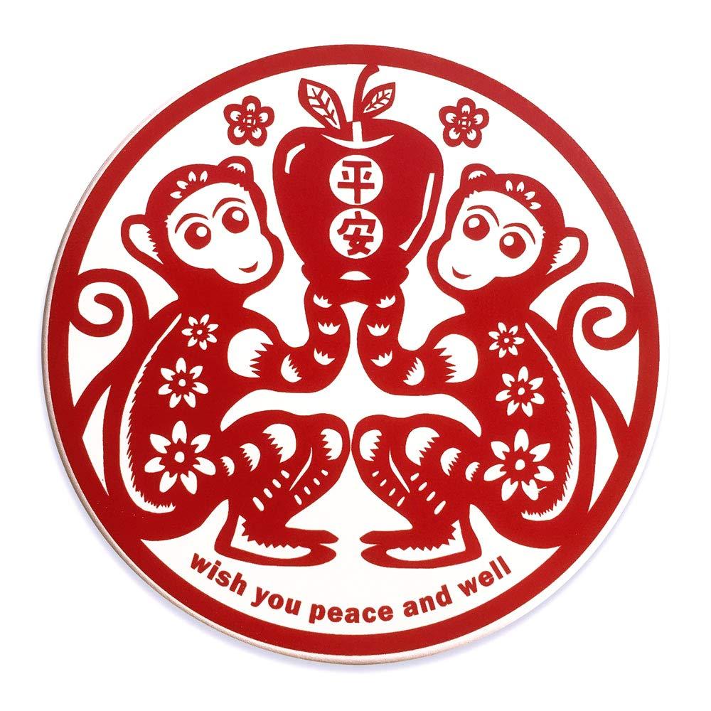 BONHO 中華ゾディアック吸収セラミックコースター4枚セット   幸運のコースター   猿     B07K65W4DW