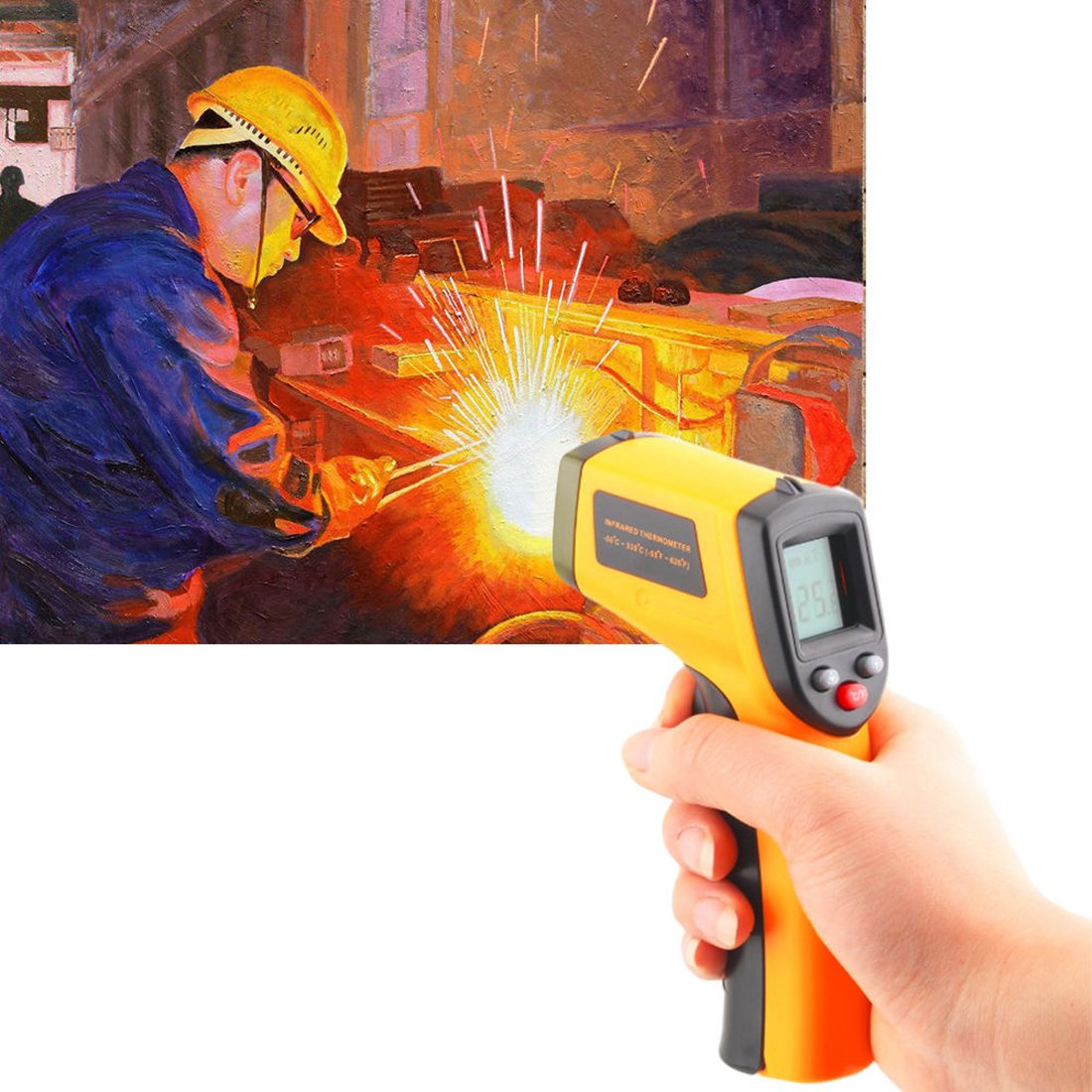 Handheld Non-Contact Digital Laser IR Infrared Thermometer Temperature Gun -58℉ - 626℉ for Kitchen Cooking BBQ Automotive Industrial,Accuracy Reading HD Backlit LCD Display hanhefen