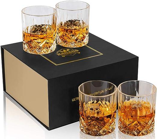 Kanars Whiskey Glasses set of 4 Premium Lead Free Crystal Rocks Tumblers New