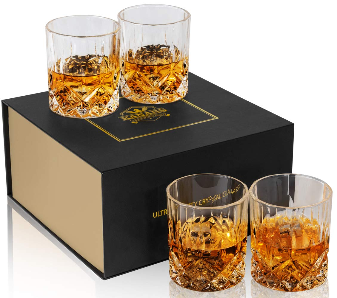 KANARS Double Old Fashioned Whiskey Glasses With Luxury Gift Box - Rocks Barware For Scotch, Bourbon, Liquor and Cocktail Drinks - Set of 4 by KANARS
