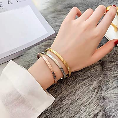 Fashion Classic Stainless Steel Roman Numeral Bangle Bracelet for Women Jewelry,Rose gold color 4.5mm Width Gold color,Silver color