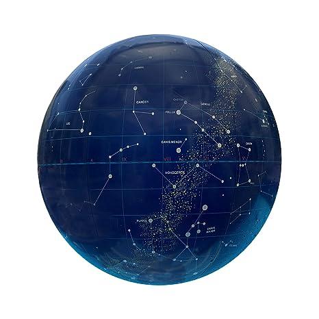 Pelota Inflable de Playa y para Piscina Grande 40cm - Calidad Alta - Estilo Luna Constelaciones Estrellas Espacio Universo Azul Marino- Melquiades ...