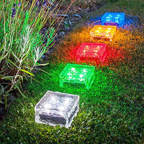 Price comparison product image LiPing 2PCS Ice Cube Brick Waterproof Solar Ground Lights Outdoor, Security Night Light Dusk to Dawn Solar Powered Path Lights for Home,  Garden,  Driveway,  Patio,  Yard (Colorful Light)