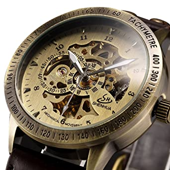 Mens watch,Self-Winding Automatic Mechanical watch,Classic Luxury Bronze Skeleton Leather Wrist