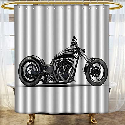 NALAHOMEQQ Manly Decor Shower CurtaIn Set By Custom Made Motorcycle Expensive Horsepower Adventurous Masculine Vehicle Bathroom