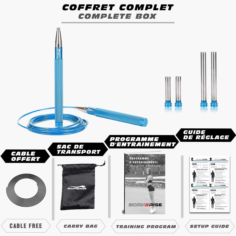 Born2Rise/™ Comba para Saltar Empu/ñaduras de Aluminio Crossfit Fitness Boxe
