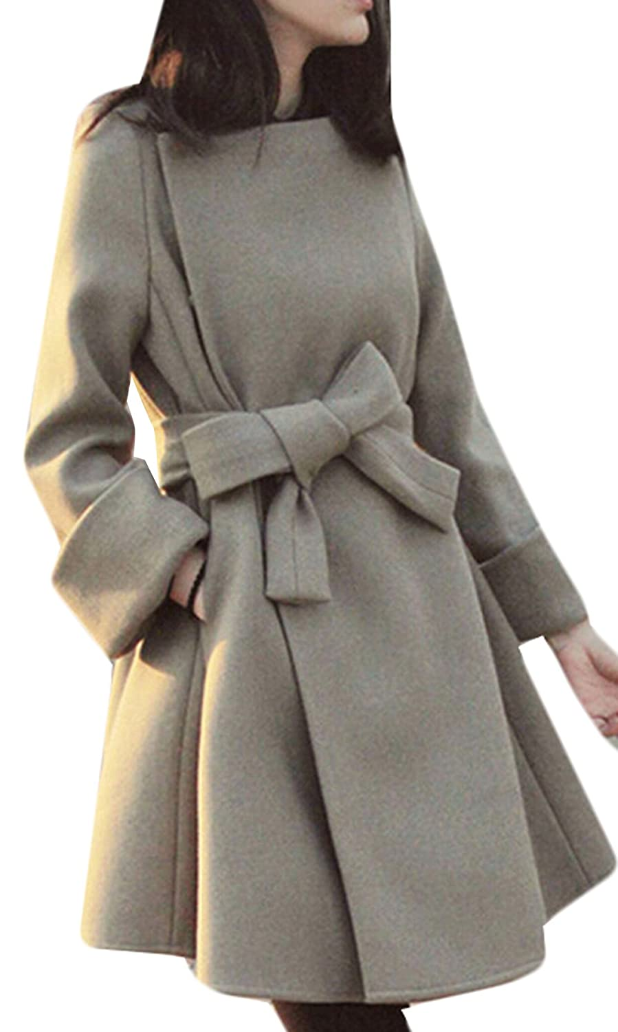 GAGA Womens Winter New Belt with Wool pea Coat