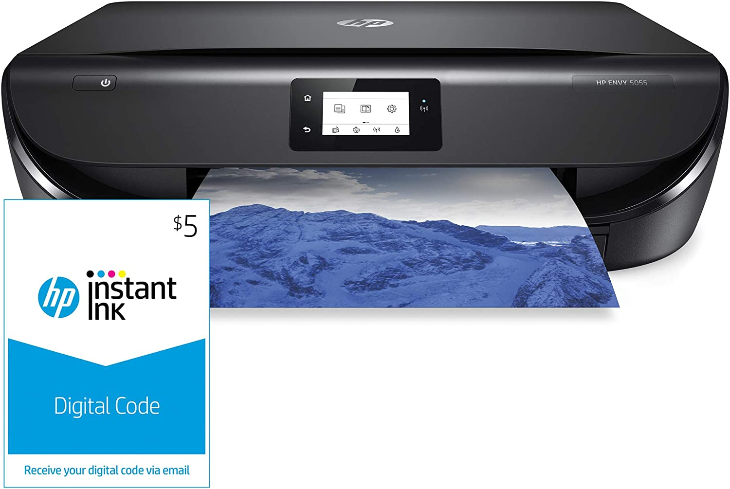 HP ENVY 5055 Wireless All-in-One Photo Printer, HP Instant Ink & Amazon Dash Replenishment ready (M2U85A) and Instant Ink $5 Prepaid Code
